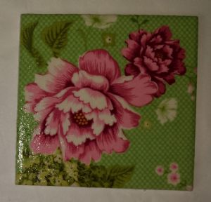 Ceramic Wall Tiles Made With Tilda Flowerpatch in Green